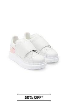 حذاء رياضي جلد 100% أبيض بناتي