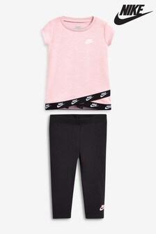 Nike Infant Pink/Black Futura T-Shirt And Legging Set