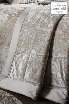 Catherine Lansfield Natural Crushed Velvet Bedspread