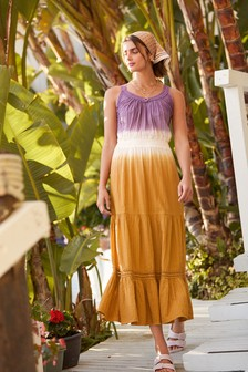 Purple/Yellow Tie Dye Maxi Dress