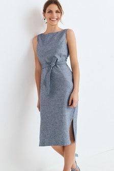 Navy Marl Linen Blend Belted Dress
