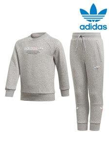 adidas Originals Little Kids Grey Crew And Joggers Set