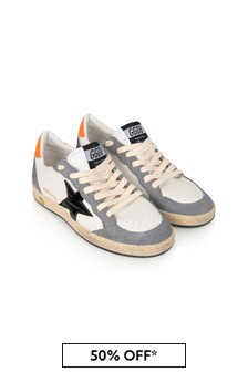 Kids White & Grey Leather Ball Star Trainers