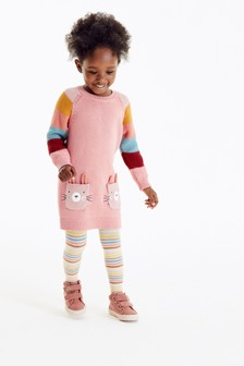 Pink Rainbow Bunny Jumper Dress & Tights Set (3mths-7yrs)