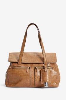 Caramel Croc Effect Large Tote Bag