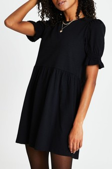 River Island Black Ss Puff Slv Tiered Smock Dress