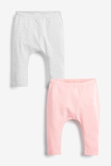Pink/Grey 2 Pack Bow Leggings (0mths-3yrs)
