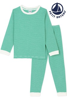 Petit Bateau Green Stripe Unisex Pyjamas