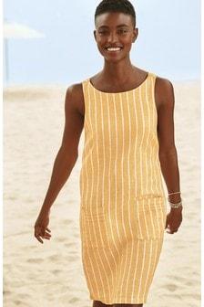 Yellow Stripe Linen Blend Shift Dress
