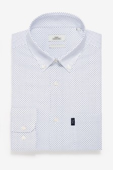 White Print Slim Fit Single Cuff Easy Iron Button Down Oxford Shirt