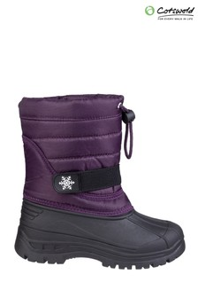 Cotswold Purple Icicle Toggle Lace Snow Boots