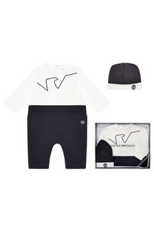Emporio Armani Baby Blue Romper And Hat Gift Set