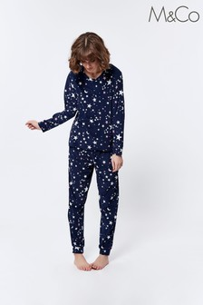 M&Co Blue Fleece Moon And Star Pyjamas Set