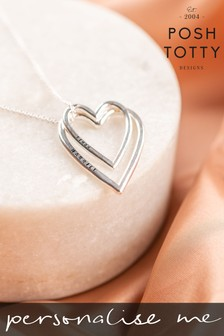 Personalised Double Heart Necklace by Posh Totty Designs
