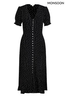Monsoon Black Oliver Spot Sustainable Viscose Dress