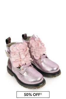 Girls Pink Leather Flower Boots