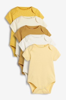 Ochre 5 Pack Plain Short Sleeve Bodysuits (0mths-3yrs)