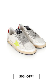 Kids White Leather Cocco Print Ball Star Trainers