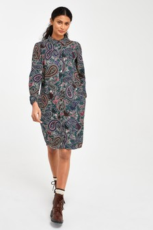 Teal Paisley Shirt Dress