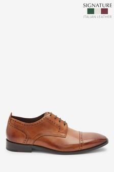 Tan Signature Italian Leather Punched Toe Cap Derby Shoes
