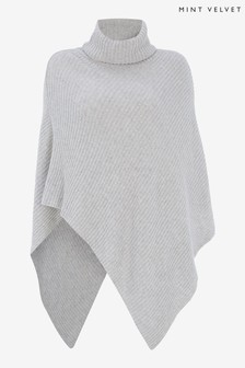 Mint Velvet Grey Roll Neck Knitted Poncho