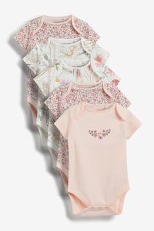 Pink Bunny 5 Pack Short Sleeve Bodysuits (0mths-3yrs)