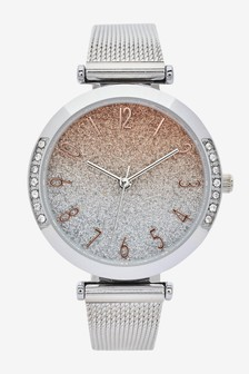 Silver Tone Shimmer Dial Mesh Watch