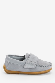 Grey Leather Penny Loafers (Younger)