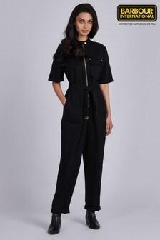 Barbour® International Black Cotton Twill Pace Jumpsuit