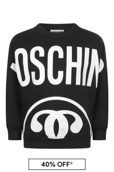 Boys Black Cotton Logo Sweater