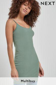 Khaki Green Longline Thin Strap Vest