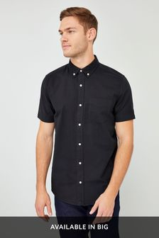 Black Regular Fit Short Sleeve Oxford Shirt