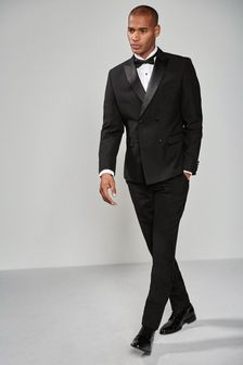Black Double Breasted Slim Fit Tuxedo Suit: Jacket