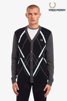 Fred Perry Abstract Argyle Pattern Cardigan