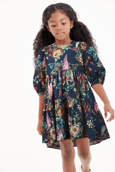 Pink Tiered Puff Sleeve Dress (3-16yrs)