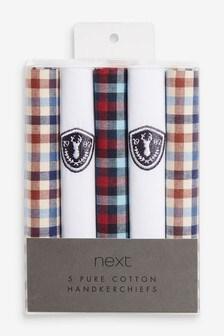 Red/White/Navy Check Design Handkerchiefs 5 Pack