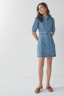 Mid Blue Puff Sleeve Soft Stretch Fitted Denim Dress