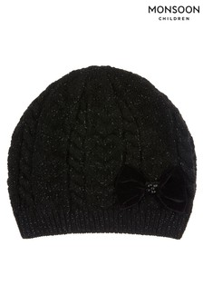 Monsoon Black Stella Sparkle Heart Bow Beanie