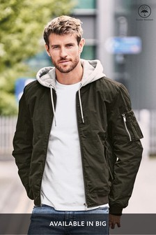 Khaki Shower Resistant MA1 Bomber Jacket With Jersey Hood