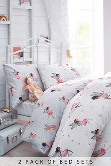 2 Pack 100% Cotton Fairy Duvet Cover And Pillowcase Set