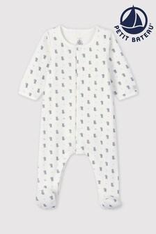 Petit Bateau Koala Print Velour Sleepsuit