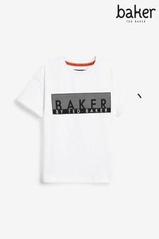 Baker by Ted Baker Unisex White Logo T-Shirt
