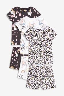 Monochrome 3 Pack Unicorn Cotton Short Pyjamas (9mths-8yrs)