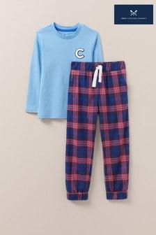 Crew Clothing Blue C Logo Jersey Woven Pyjama Set