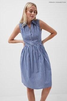 French Connection Blue Reta Check Sleeveless Shirt Dress