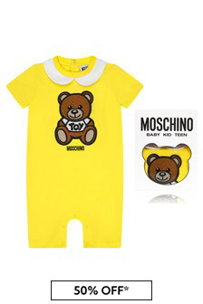 Moschino Kids Baby Yellow Cotton Romper