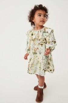 Ecru Floral Ruffle Ponte Dress (3mths-7yrs)