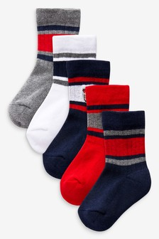 Multi 5 Pack Cotton Rich Tiger Embroidered Sport Socks (Younger)