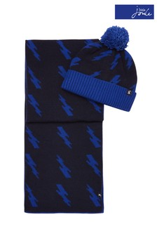 Joules Blue Maxwell Hat & Scarf Set
