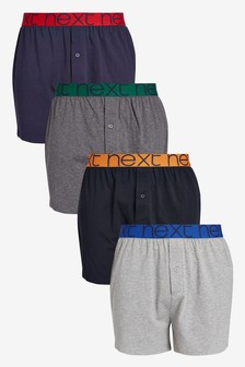 Grey/Navy Colour Waistband Loose Fit Pure Cotton Four Pack